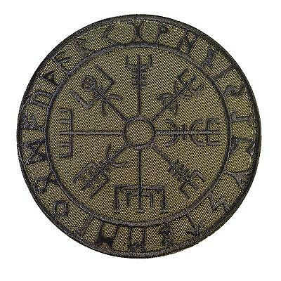 Vegvisir Viking Compass olive drab green embroidered tactical sew iron on patch