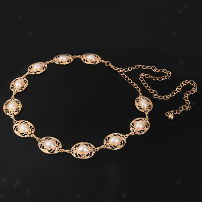 Luxury Woman Gold Adjustable Chain Waist Belt Pearl Beads Waistband Belt