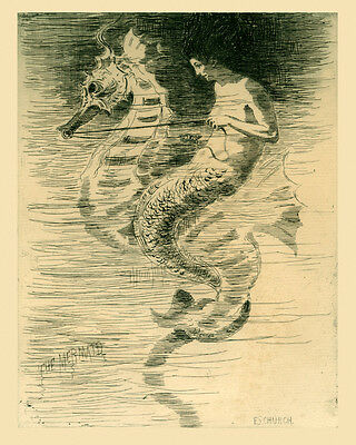 Mermaid Butterfly Ocean 16X20 Vintage Poster Repro FREE SHIP in USA