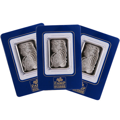Lot of 3 - 1 Troy oz Pamp Suisse Palladium Bar .9995 Fine In Assay
