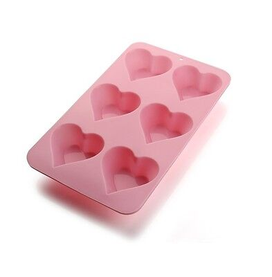 Love Heart Shaped Pink Silicone Mould Non Stick Makes 6 Cup Cakes Muffin Wedding