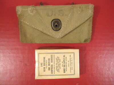 WWII US Army M1924 Khaki First Aid Pouch & Compress Bandage - Dated 1943 #2