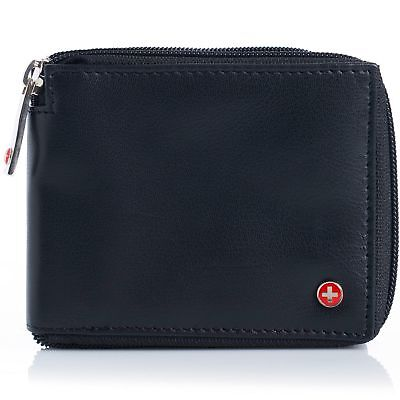 Alpine Swiss Men's Leather Zip Around Wallet ID Card Window Secure Zipper Bifold