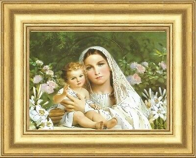 Small Madonna And Child Virgin Mary Baby Jesus Framed Picture Gold Moulded Frame