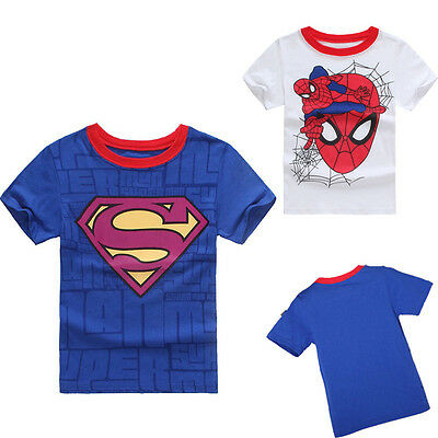 Spiderman Superman Baby Kids Boy 100% Cotton Short Sleeve T-shirt Tees Tops 2-7Y