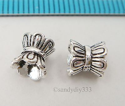 4x BALI STERLING SILVER FLOWER TUBE CORD SPACER CAP BEADS 6.1mm x 6mm #2485