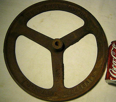Antique Red Jacket Davenport Iowa Country Farm Industrial Cast Iron Sign Wheel