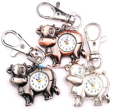 Wholesale 10 pcs Cute Cow design Key Ring Pocket Watches 3 colors USK44