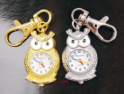 Wholesale 10 pcs Cute Owl design Key Ring Pocket Watches 2 colors USK43