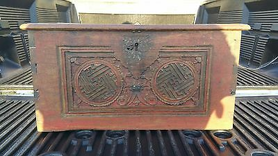 Antique 18C / 19C Chinese Or Tibetan Dovetailed Wood Box With Carved Decoration