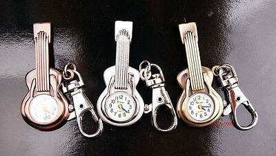 Wholesale 10 pcs Cute Guitar design Key Ring Pocket Watches 3 colors USK41