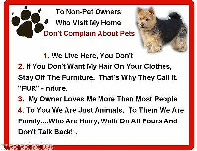 Funny Dog Norwich Terrier House Rules Refrigerator / Magnet Gift Card Insert
