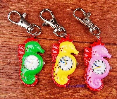Wholesale 10 pcs Cute Hippocampus style Key Ring Pocket Watches 3 colors USK40