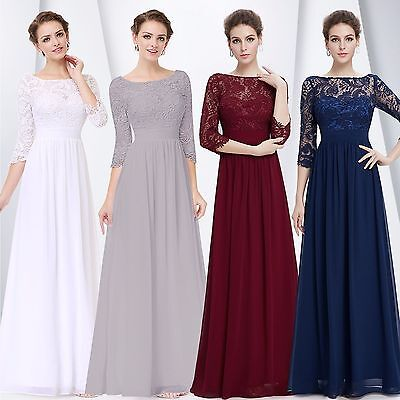 US Women's Bridesmaid  Gowns Lace Long Evening Formal Party Prom  Dress 08412