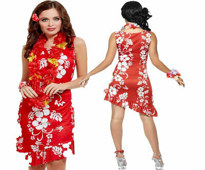 Hawaiian Beauty Ladies Fancy Dress Costume Hula Girl Beach Party Outfit 12/14