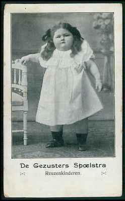 Circus freak Fat little child Girl  Spoelstra original old 1910s postcard