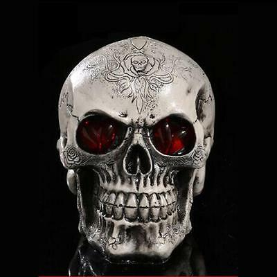 LED Eyes Skull Figurine Human Skeleton Head Halloween Home Bar Decoration #3