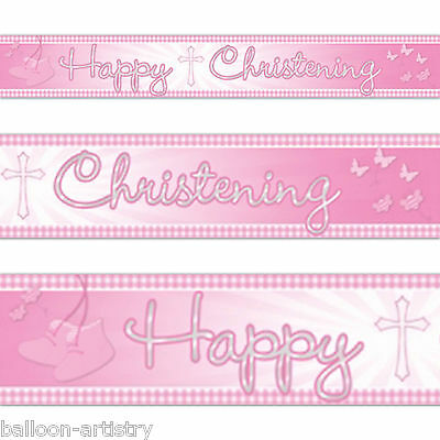 4.5m Pink Girl's Booties & Boat Cute Christening Party Foil Banner Decoration