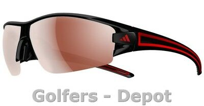 Adidas Brille a402 evil eye halfrim L shiny black red 6050