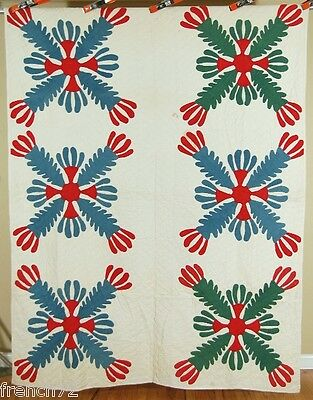 OUTSTANDING Vintage 1860's Cactus Flower Red & Green Applique Antique Quilt ~WOW