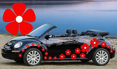 32 Red & White Pansy Car Decals,Flower Car Stickers,Car Graphics
