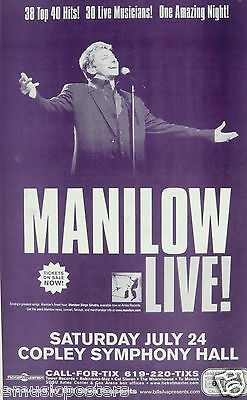BARRY MANILOW SAN DIEGO CONCERT TOUR POSTER - 38 Top 40 Hits, One Amazing Night!