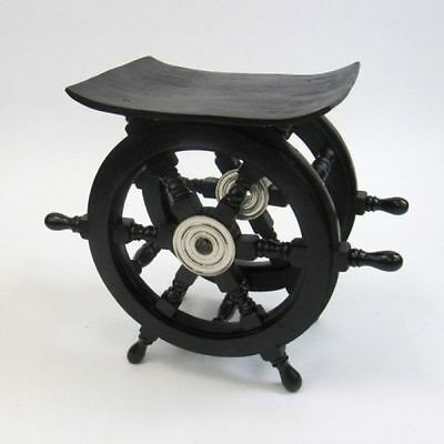 "18"" Black Ships Wheel End Table ~ Wood / Chrome ~ Nautical Maritime Furniture"