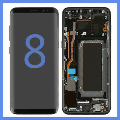 LCD Display Screen Digitizer Frame Replacement For Samsung Galaxy S8 G950 Black