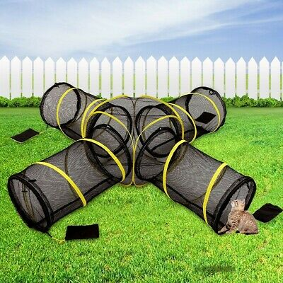 Foldable 4 Way Pet Cat Play Agility Tunnel Exercise Tube Portable Extensible