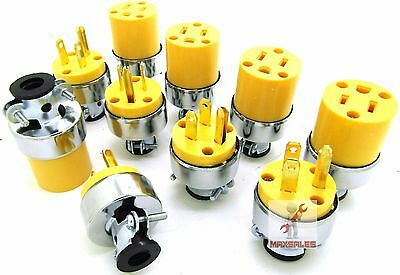 (10-pc) Male & Female Extension Cord Replacement Electrical Plugs 15AMP 125V End