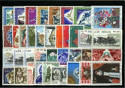 1968 MONACO ANNEE COMPLETE TIMBRES POSTE + PA xx