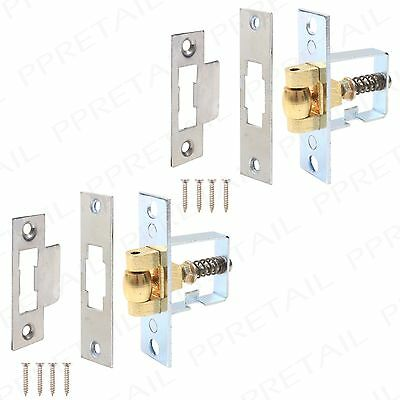 2 x HEAVY DUTY Nickel Adjustable Spring Roller Ball Mortice Door Latch Catch Set