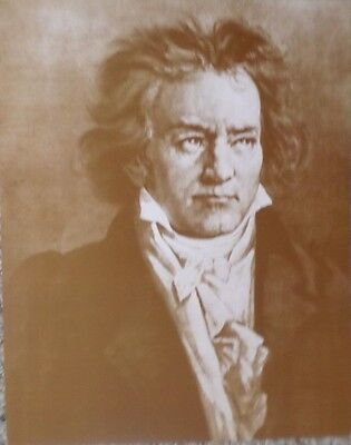 Classical Portrait of Beethoven Hand-Drawn Sepia Poster