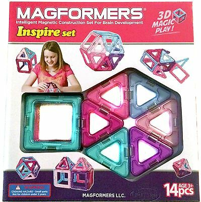 MAGFORMERS Magnetic Building Inspire Set Pink Purple Teal Girl 14 pieces Toy NEW