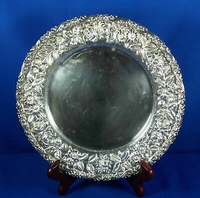 .925 Sterling Silver Bailey Banks & Biddle Co. Plate Floral Repousse