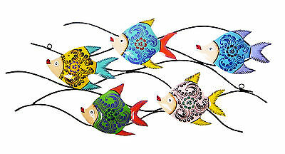 Bright painted fish - Metal Wall Art - Suitable for Indoor and Outdoor Use 77 cm