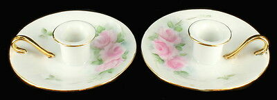 Antique Pair Signed Hand Painted Chamber Candlestick Holders Limoges? Pink Roses