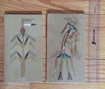 Beautiful! Vintage 2 Authentic Amer Indian Sand Paintings -Navajo Reservation