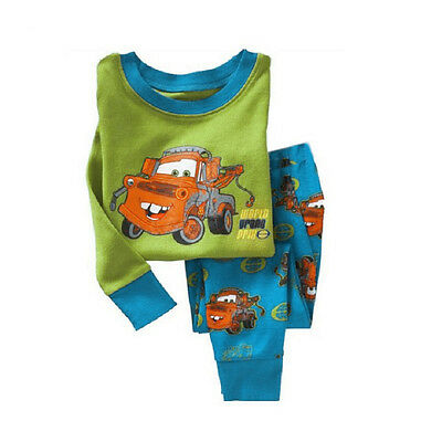 Kids Boys Cotton Long Sleeve Sport Casual Set Baby Cotton Sleepwear Pajamas 1-7Y