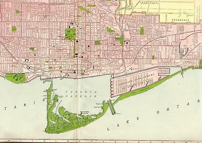 1914 RARE TORONTO Map of Toronto Canada UNCOMMON Map Gallery Wall Art 2566