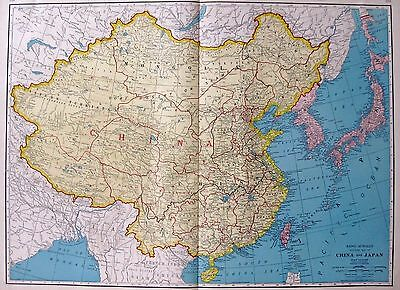 1930 RARE CHINA Map of China and JAPAN Map UNCOMMON Rare Size Map 2586