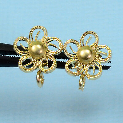 14k Solid Yellow Gold Filigree Fancy Flower Ear Posts With Backs PAIR