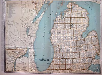1932 RARE MICHIGAN Map of Michigan w Railroads Poster Print Rare Size Map 2599