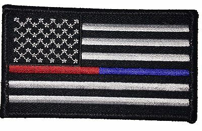 4 Pc Us Flag Thin Blue Red Line Police Firefighter Hook Loop Usa Flag Patch