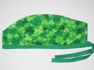 Surgical Scrub Hats/Cap St. Patrick's Day Green variegated Shamrocks and clovers