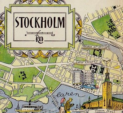 Vintage STOCKHOLM Sweden Map FUN Scandinavia Artistic Pictorial Map Sca 2637
