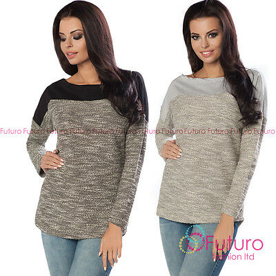 Womens Knitted Jumper Batwing Pullover Sweatshirt Blouse Top Sweat Size 8-12 206