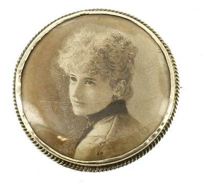 """Antique Victorian Sterling Pretty Lady Round Mourning Portrait Pin 1.5"""""""