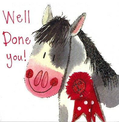 """Alex Clark Art Horse  Note Cards  Set Of 4 Cards """"well Done You"""""""