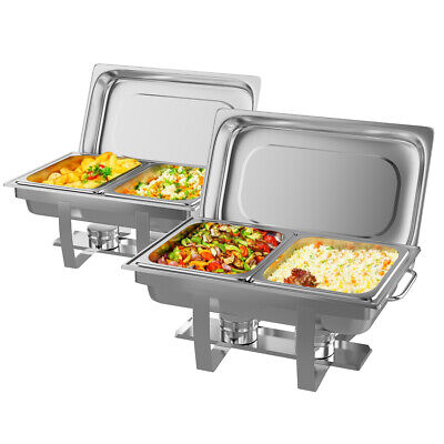 Goplus 2 Pack of 9 Quart Rectangular Chafing Dish Stainless Steel Full Size New